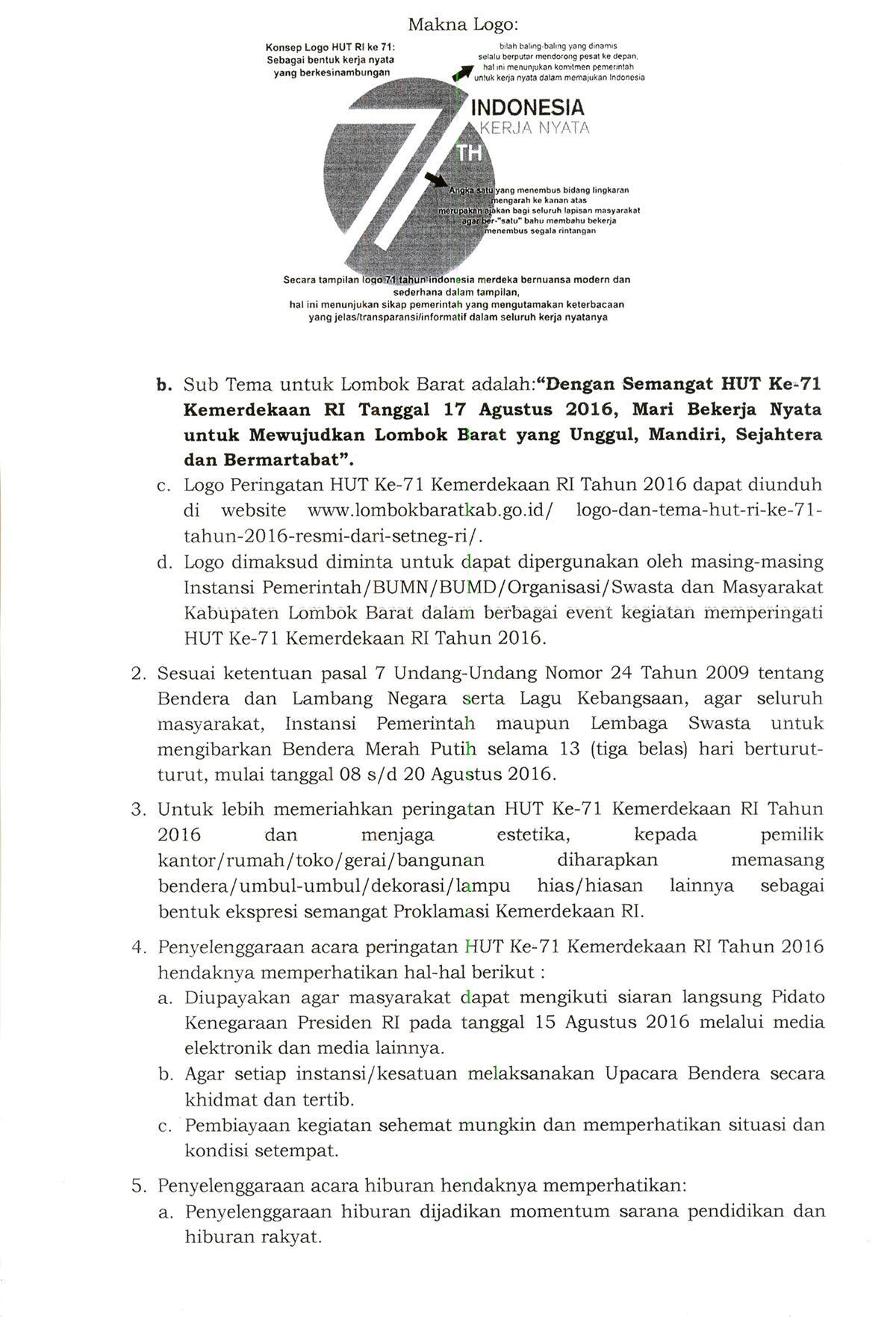 Surat Edaran Tentang Pedoman Peringatan Hut Ke 71