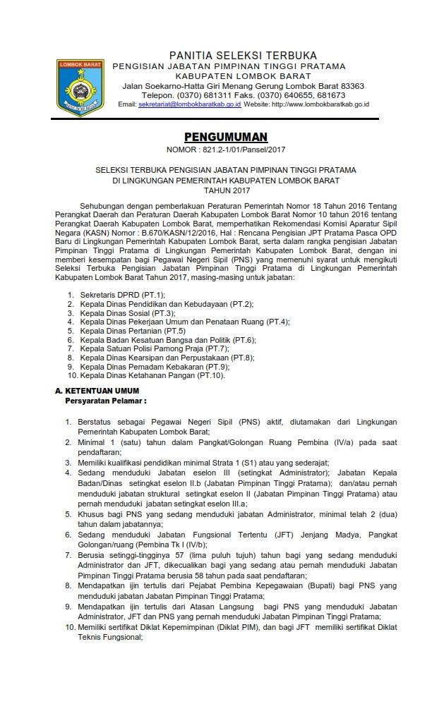 PENGUMUMAN JPT LOMBOKBARAT 2017_001